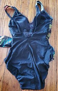 Longitude Swim - Black with orange flowers swimsuit